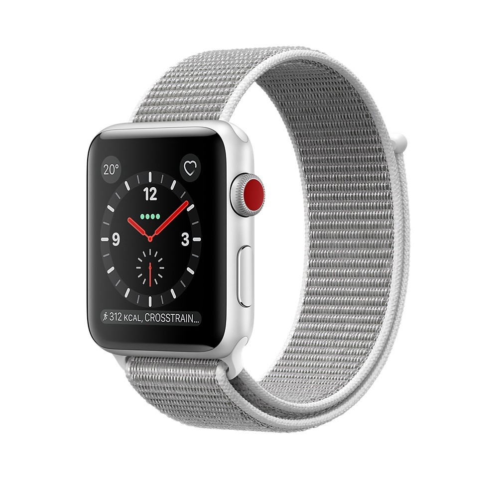 APPLE WATCH Series 3, 42 mm, GPS + Cellular, Sport Loop, Silber/Muschel
