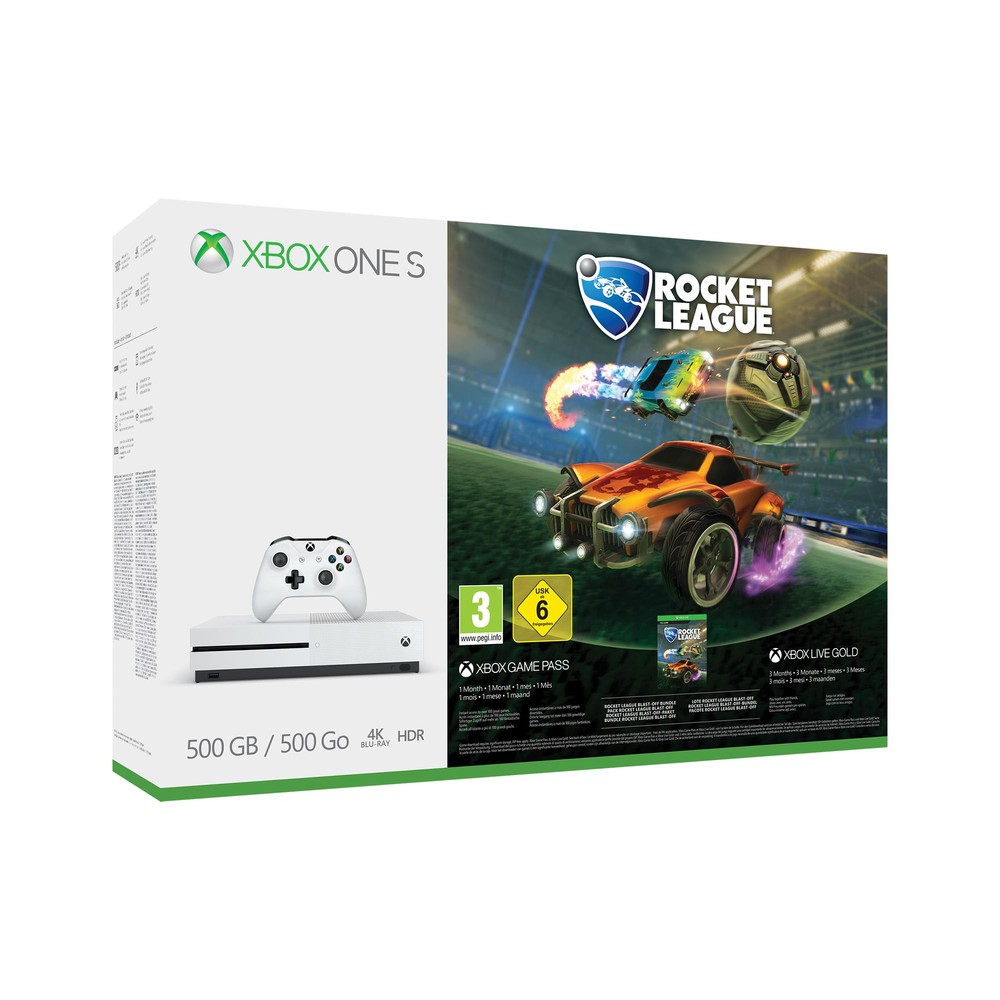 xbox one s konsole 4k 500 gb white inkl rocket league. Black Bedroom Furniture Sets. Home Design Ideas