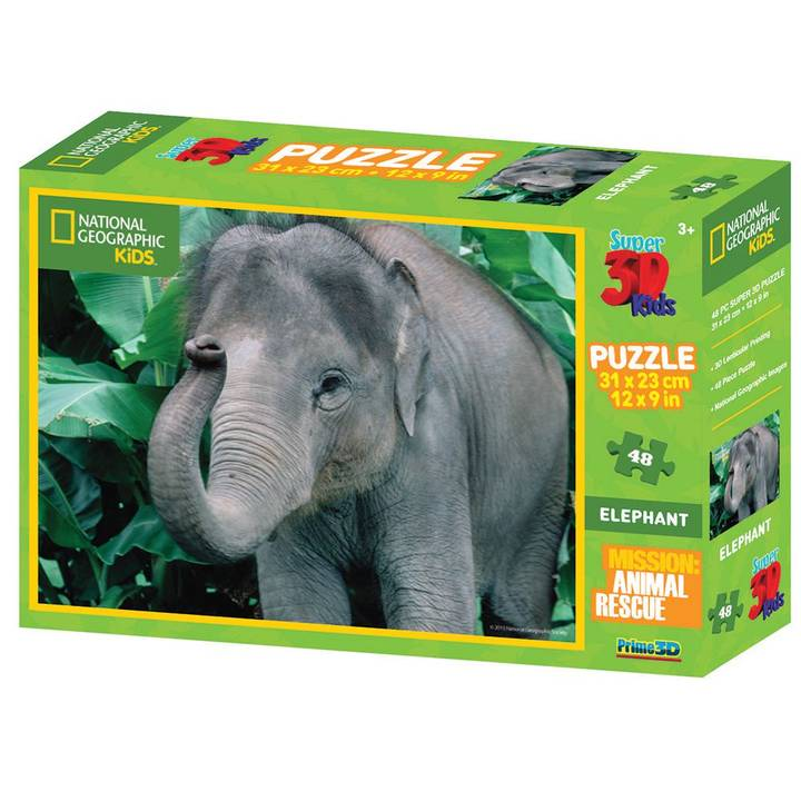 NATIONAL GEOGRAPHIC Elephant 3D Puzzle, 100 Stk.