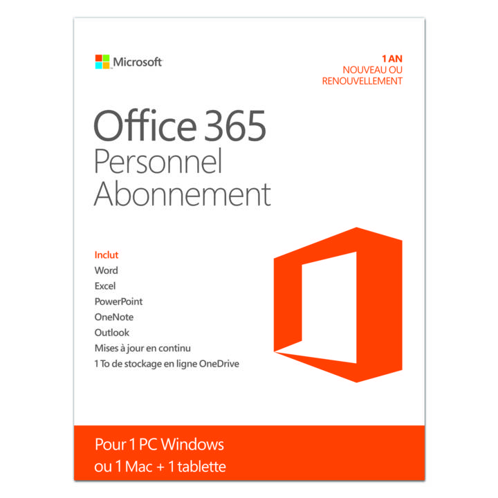MICROSOFT Office 365 Personal für PC/Mac, 1 User, 1 Jahr, ESD (FR)