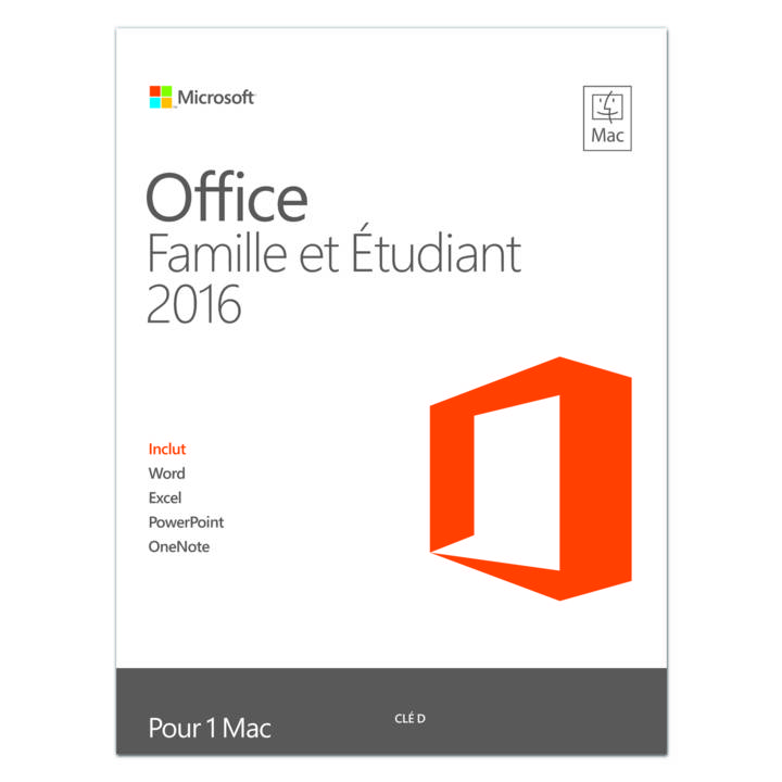 MICROSOFT Office Home & Student 2016 für Mac, 1 User, ESD (FR)