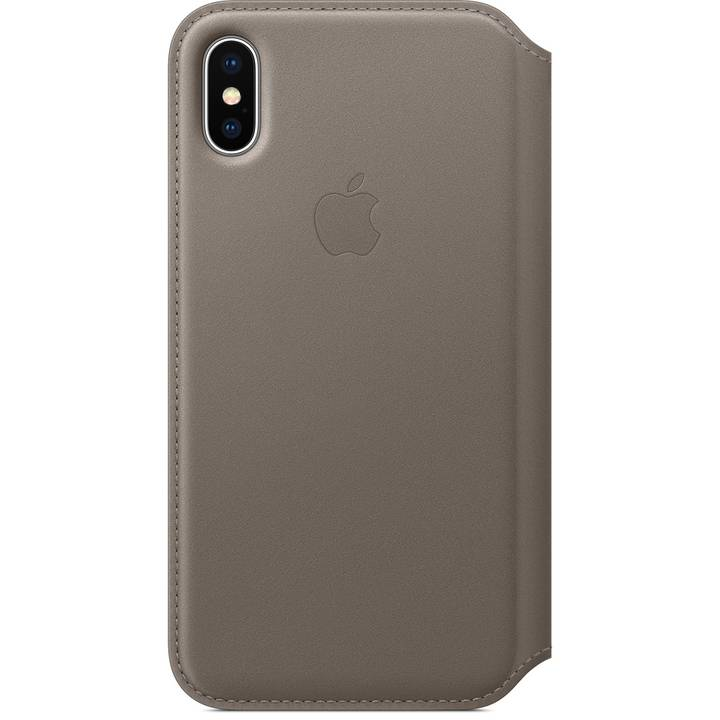 APPLE iPhone X Étui Folio en cuir Taupe