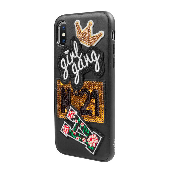 SBS Cover mit Girl Gang-Patch für iPhone X Black