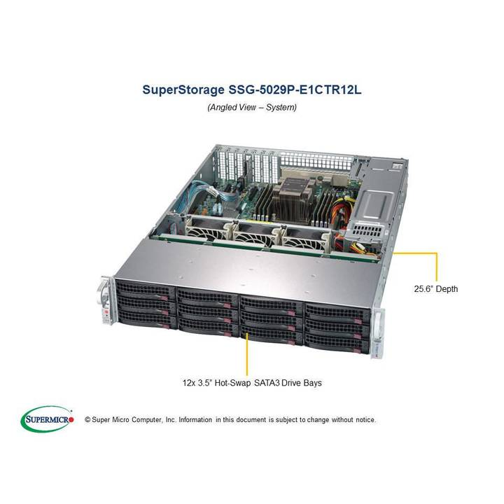 SUPER MICRO SuperStorage Server 5029P-E1CTR12L - Rack-Montage - keine CPU - 0 GB - 0 GB