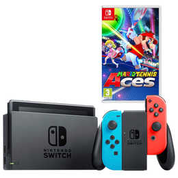 NINTENDO Switch Neon Blue / Red inkl. Mario Tennis Aces (D)