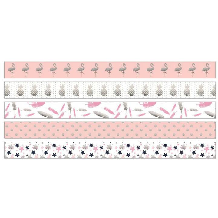 URSUS Washi Tape Tropic Flamingo 5 Rolle