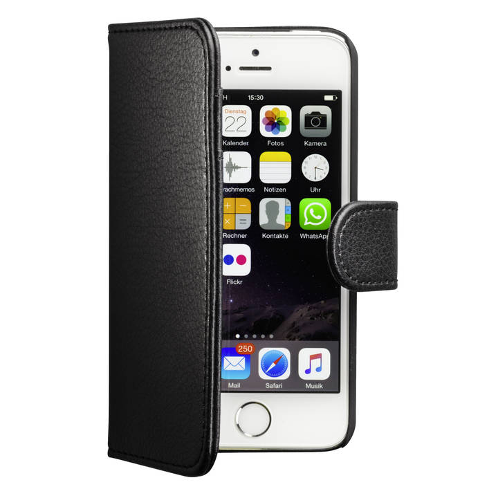 INTERTRONIC Walletcover iPhone 5/5S/SE black