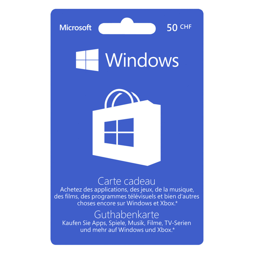 MICROSOFT Windows Store POSA Gift Card CHF 50.- DF
