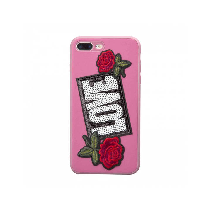 SBS Cover mit Patch Lover für iPhone 8 Plus/7 Plus Pink